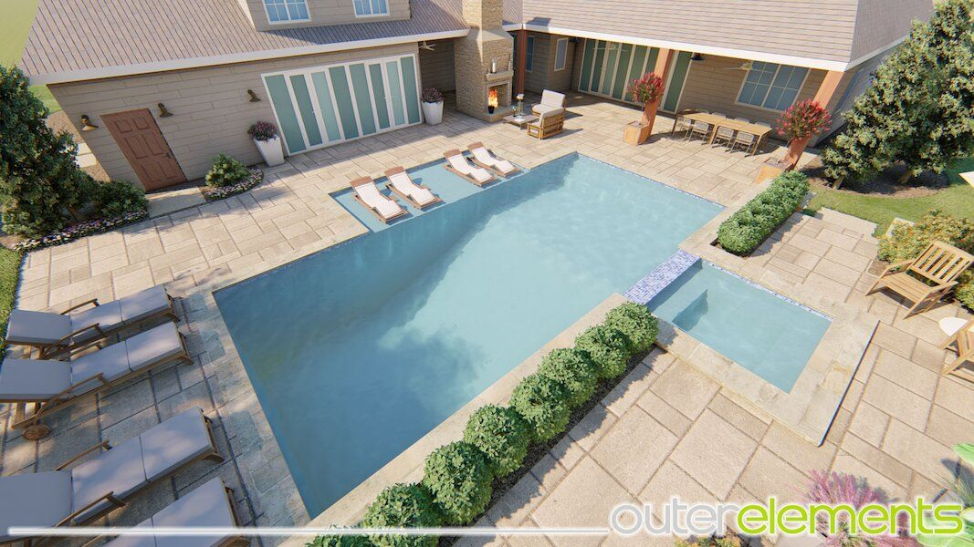 Calhoun Georgia pool and terrace landscaping OuterElements