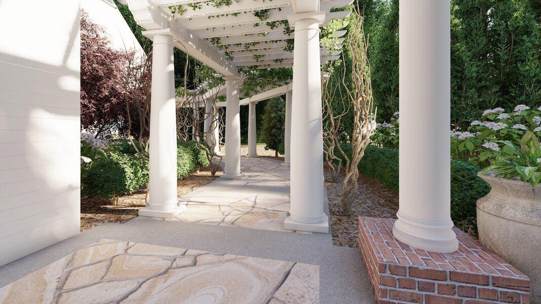 Dalton Georgia natural stone patio with pillars Outerelements